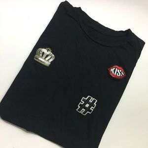 Tops - Black Long Tshirt With Patches